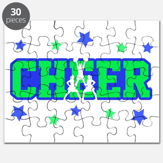 Blue & Green Cheer Silhouette Puzzle