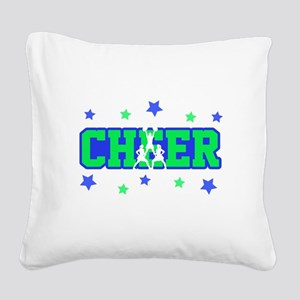 Blue & Green Cheer Silhouette Square Canvas Pillow