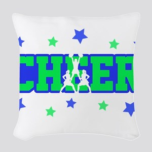 Blue & Green Cheer Silhouette Woven Throw Pillow