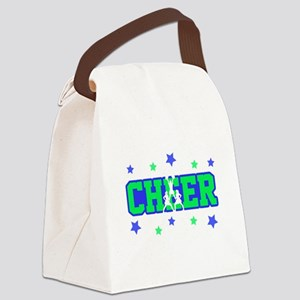 Blue & Green Cheer Silhouette Canvas Lunch Bag
