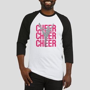 Pink Cheer Glitter Silhouette Baseball Jersey