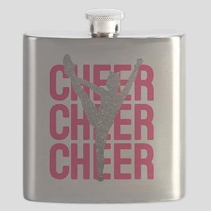 Pink Cheer Glitter Silhouette Flask