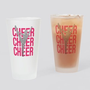 Pink Cheer Glitter Silhouette Drinking Glass