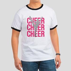 Pink Cheer Glitter Silhouette Ringer T