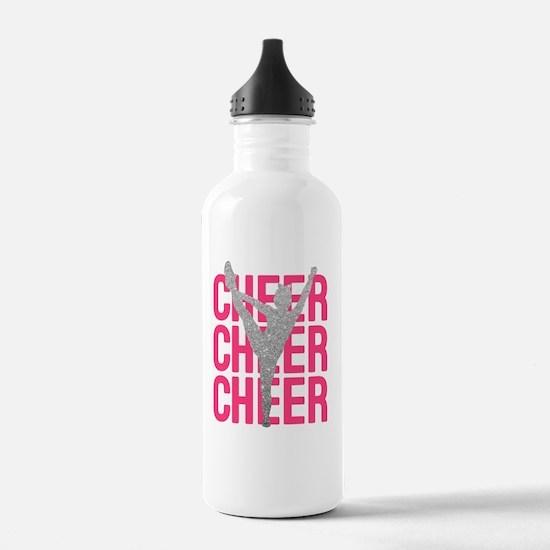 Pink Cheer Glitter Sil Water Bottle
