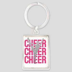 Pink Cheer Glitter Silhouette Portrait Keychain