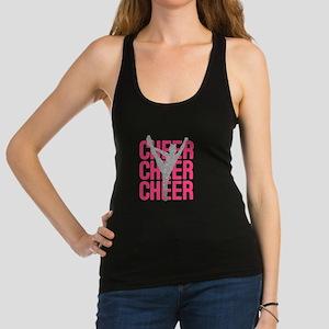 Pink Cheer Glitter Silhouette Racerback Tank Top