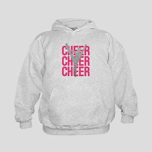 Pink Cheer Glitter Silhouette Kids Hoodie