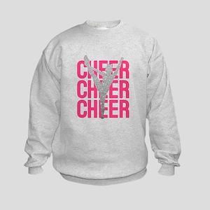 Pink Cheer Glitter Silhouette Kids Sweatshirt