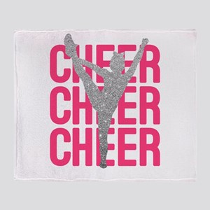 Pink Cheer Glitter Silhouette Throw Blanket