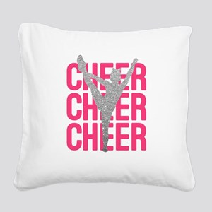 Pink Cheer Glitter Silhouette Square Canvas Pillow
