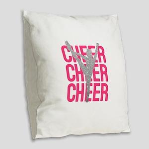 Pink Cheer Glitter Silhouette Burlap Throw Pillow