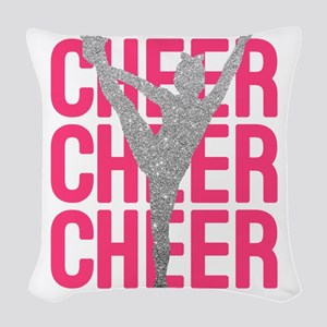 Pink Cheer Glitter Silhouette Woven Throw Pillow