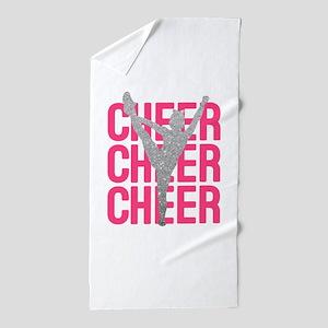 Pink Cheer Glitter Silhouette Beach Towel