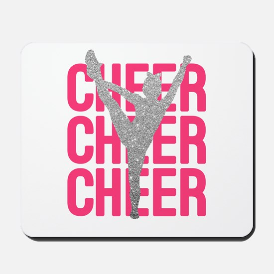 Pink Cheer Glitter Silhouette Mousepad