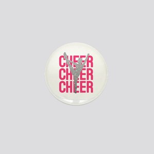 Pink Cheer Glitter Silhouette Mini Button