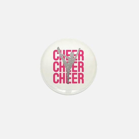 Pink Cheer Glitter Silhouette Mini Button