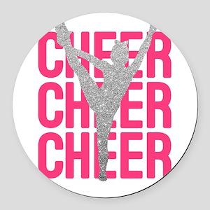 Pink Cheer Glitter Silhouette Round Car Magnet