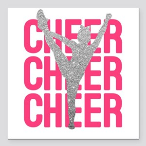"Pink Cheer Glitter Silho Square Car Magnet 3"" x 3"""