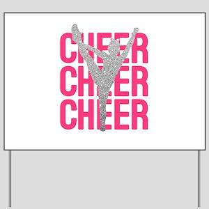 Pink Cheer Glitter Silhouette Yard Sign