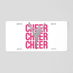 Pink Cheer Glitter Silhouet Aluminum License Plate