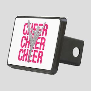 Pink Cheer Glitter Silhoue Rectangular Hitch Cover
