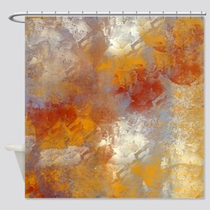 Abstract in Butterscotch, Red, and  Shower Curtain