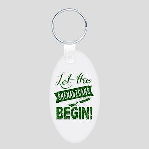 Let The Shenanigans Begin Aluminum Oval Keychain