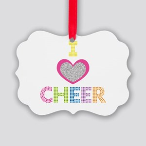 I Heart Cheer Picture Ornament