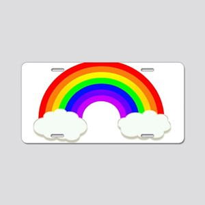 Rainbow in the clouds Aluminum License Plate