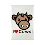 I Love Cows Rectangle Magnet (100 pack)