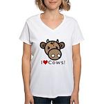 I Love Cows Women's V-Neck T-Shirt