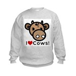I Love Cows Kids Sweatshirt