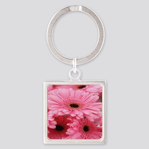 Pink Gerbera Daisies Square Keychain