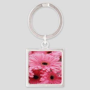 Pink Gerbera Daisies Square Keychain