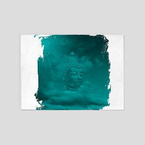 buddha in blue 5'x7'Area Rug
