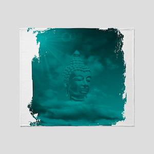 buddha in blue Throw Blanket