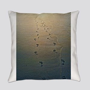 Footprints in the Sand Everyday Pillow