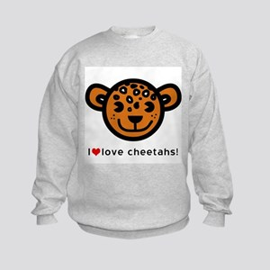 I Love Cheetahs Kids Sweatshirt