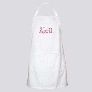 due in April brown pink BBQ Apron