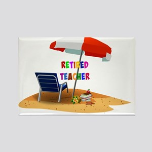 Retired Teacher, Beach Scene Revi Rectangle Magnet