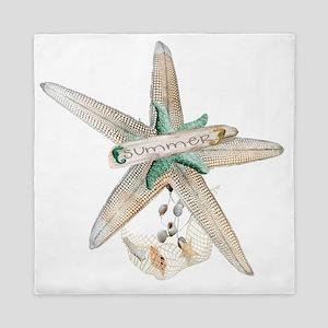 Trendy Starfish and Seashells Queen Duvet