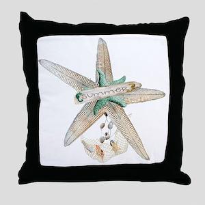 Trendy Starfish and Seashells Throw Pillow