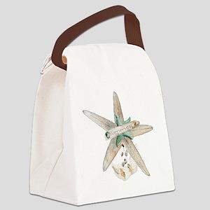 Trendy Starfish and Seashells Canvas Lunch Bag