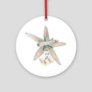 Trendy Starfish and Seashells Round Ornament
