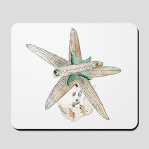 Trendy Starfish and Seashells Mousepad