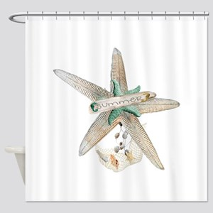 Trendy Starfish and Seashells Shower Curtain