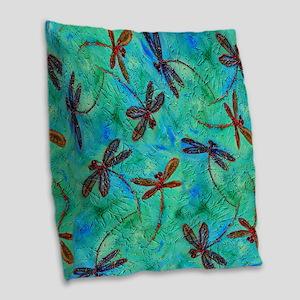 Dragonfly Dance Burlap Throw Pillow