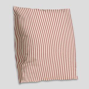 Red Ticking Burlap Throw Pillow
