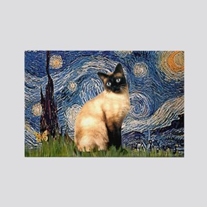 Starry Night Siamese Rectangle Magnet